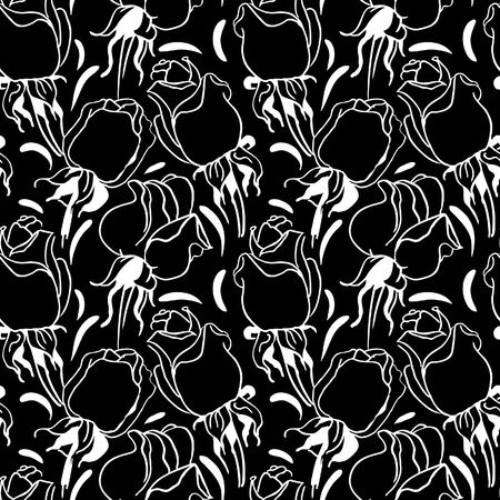 soulful: Floral seamless pattern. Black and white illustration