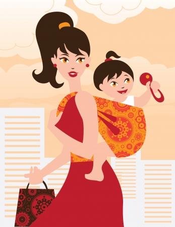 draagdoek: Actieve moeder met baby meisje in een draagdoek Stock Illustratie