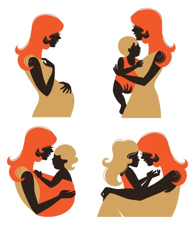 Mother silhouette with baby. Set of silhouette pregnant woman and mother with child at different age Vector