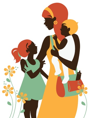 Beautiful mother silhouette with her children. Card of Happy Mothers Day. Illustration