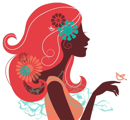 Beautiful woman silhouette with a flowers Stock Vector - 16200979