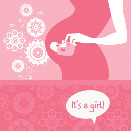 bootees: Silhouette pregnant mother with babys bootees. Newborn baby greeting card Illustration