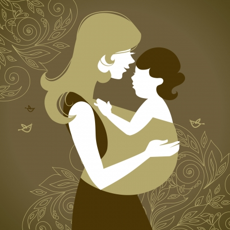 Beautiful mother silhouette with baby in a sling Stock Vector - 16200962