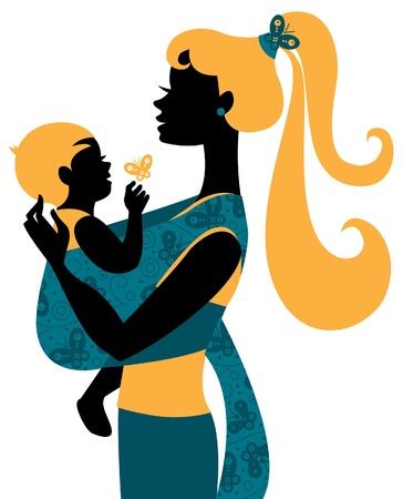 draagdoek: Mooie moeder silhouet met baby in een draagdoek