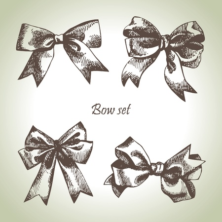 Set of bow. Hand drawn illustrations of ribbons Stock Vector - 16200968