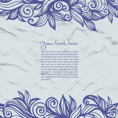 crushed: Abstract template floral background with crushed paper