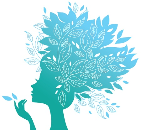 conceptual symbol: Beautiful woman silhouette with a flowers  Illustration