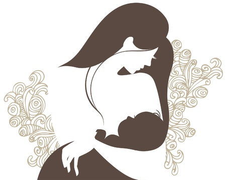baby with mama: Beautiful mother silhouette with baby