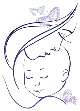 motherhood: Mother and baby Illustration