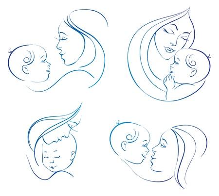 Moeder met baby. Set van lineaire silhouet illustraties