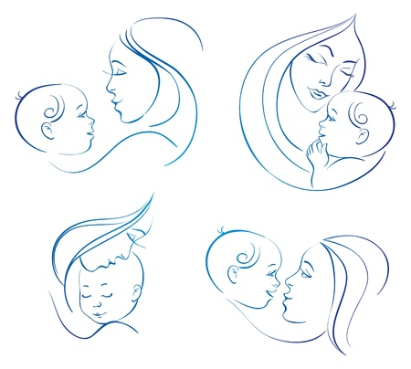 babysit: Mother with baby. Set of linear silhouette illustrations