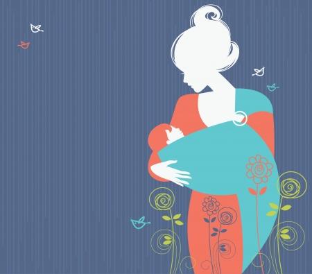 Silhouette belle mère avec un bébé dans une écharpe et floral, fond