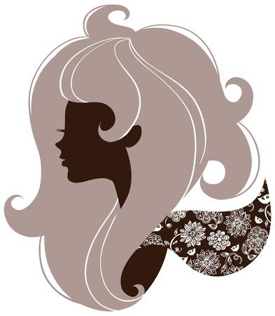 meisje silhouet: Mooi meisje silhouet Stock Illustratie