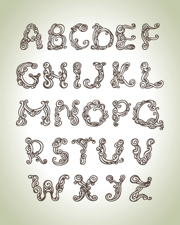 Swirly alphabet, vintage hand drawn doodle illustration  Vector