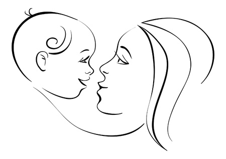 baby with mother: Mother and baby Illustration