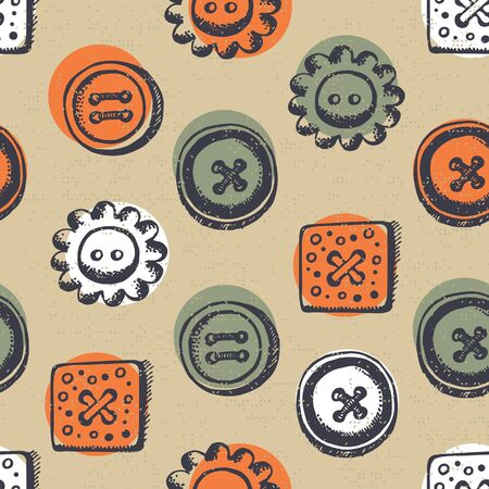 Seamless pattern with buttons in retro style Stock Vector - 16202265