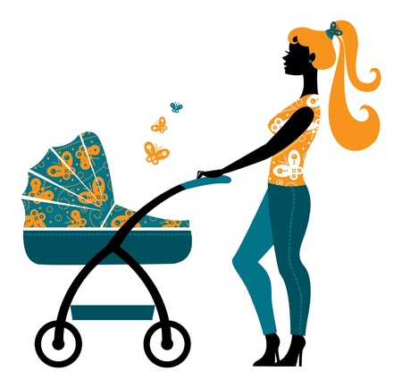 Silhouette of beautiful mother with baby carriage