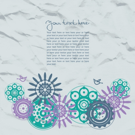 Abstract template floral background with crushed paper  Vector