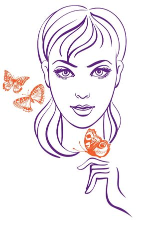 allegory: Beautiful girl with butterfly