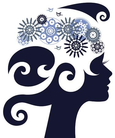 visage femme profil: Silhouette belle femme avec des fleurs Illustration