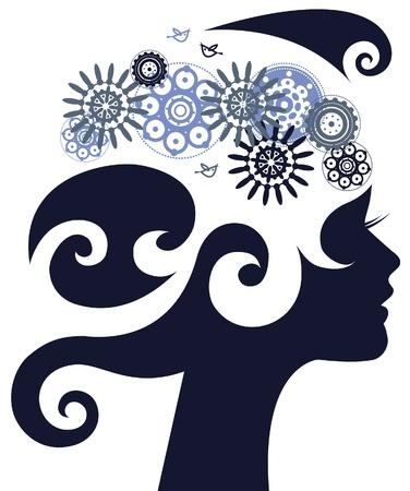 perfil de mujer rostro: Silueta de la mujer hermosa con una flor Vectores
