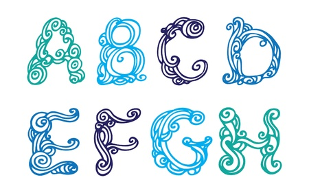 ah: Swirly hand drawn font  Vector letters set A-H  Illustration