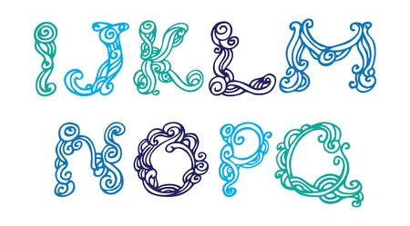 Swirly hand drawn font  Vector letters set I-Q Vector