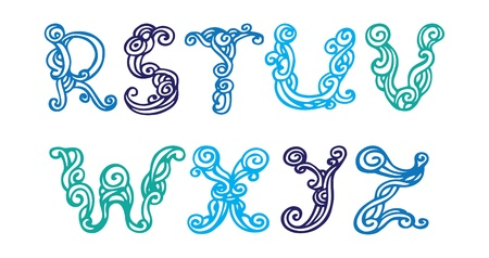 Swirly hand drawn font  Vector letters set R-Z Vector