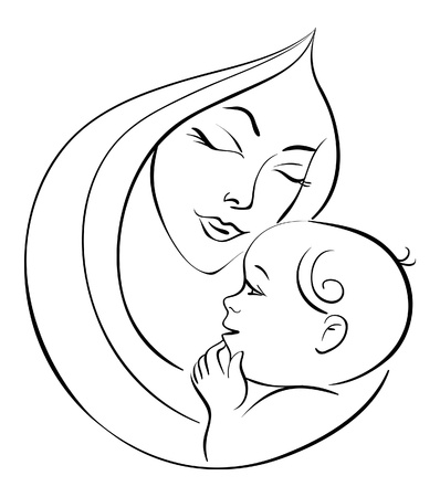mother and child: Mother and baby Illustration