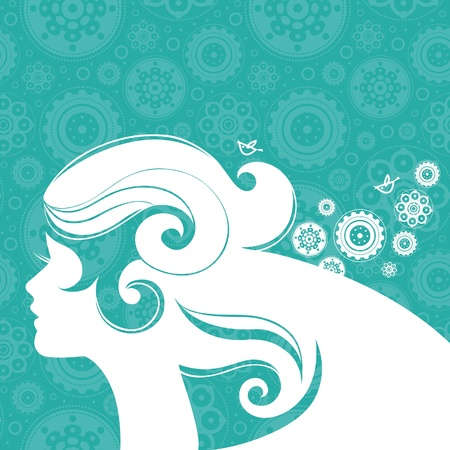 stylish hair: Background with beautiful girl silhouette  Illustration