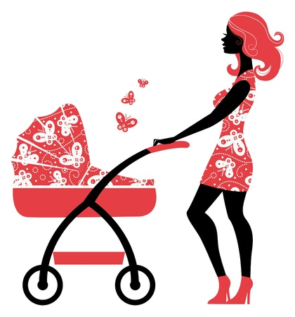 baby with mother: Silhouette of beautiful mother with baby carriage  Illustration
