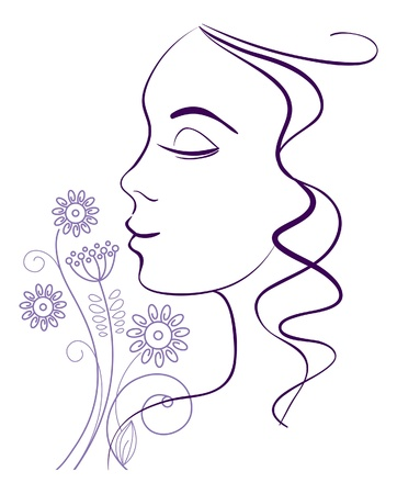 linear: Beautiful woman silhouette with a flowers  Illustration