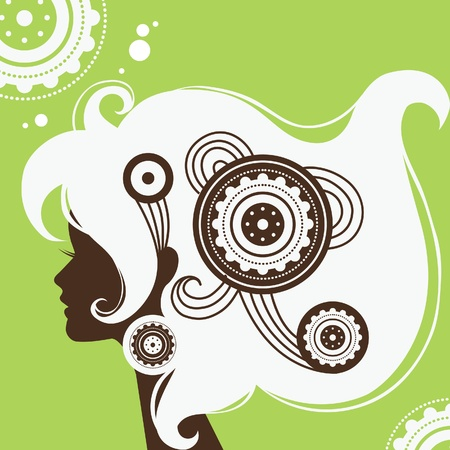 pretty head: Background with beautiful girl silhouette  Illustration