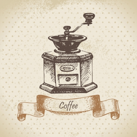 Сoffee mill. Hand drawn illustration Vector