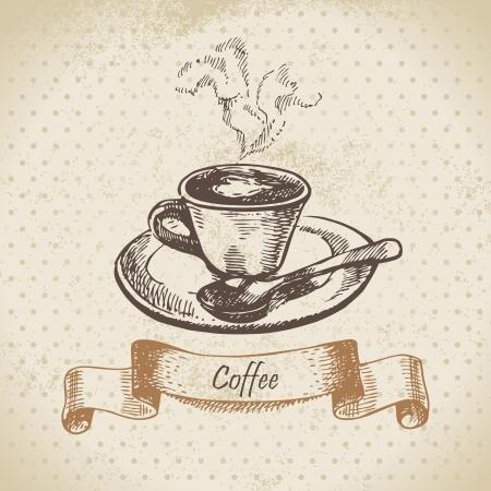 tarde de cafe: Taza de café. Dé la ilustración exhausta