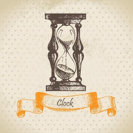 sand timer: Sand glass, hand drawn  illustration