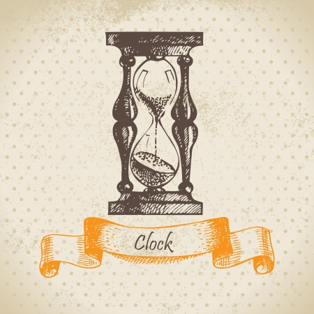 reloj de pendulo: Vidrio de la arena, dibujado a mano ilustraci�n Vectores