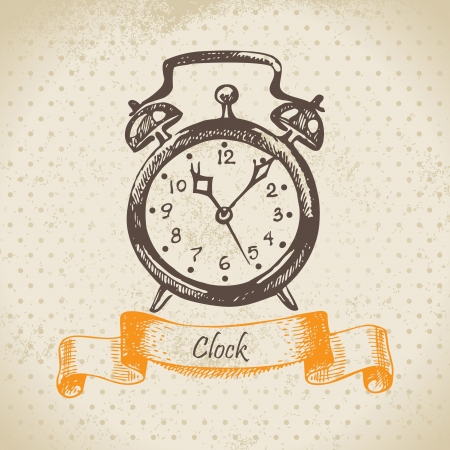 Alarm clock, hand drawn illustration  Vector