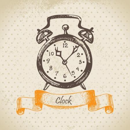 despertador: Alarma, dibujado a mano ilustraci�n Vectores