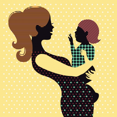 Mother and baby in retro style  Stock Vector - 16759832