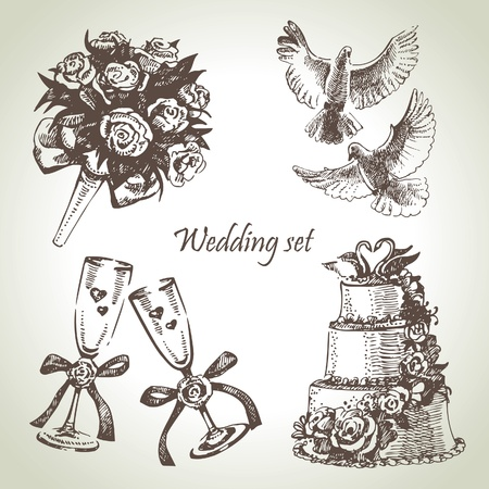 wedding cake: Wedding set. Hand drawn illustration