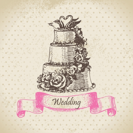 just married: Pastel de boda. Dibujado a mano ilustraci�n