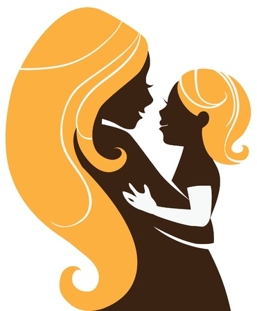 babysit: Beautiful mother silhouette with baby