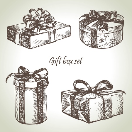 presents: Set of gift boxes. Hand drawn illustration