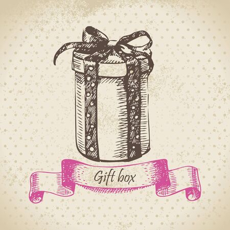 Gift box. Hand drawn illustration Vector