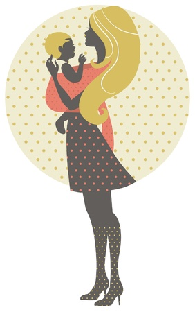 babysitter: Beautiful mother silhouette with baby in a sling, retro illustration