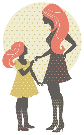 parent and teenager: Beautiful mother silhouette with her daughter in retro style