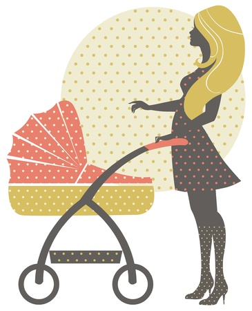 Silhouette of beautiful mother with baby carriage in retro style Stock Vector - 16759830
