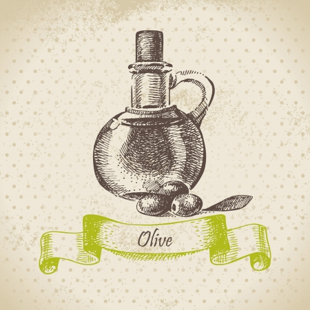 Olive oil  Hand drawn illustration Vector
