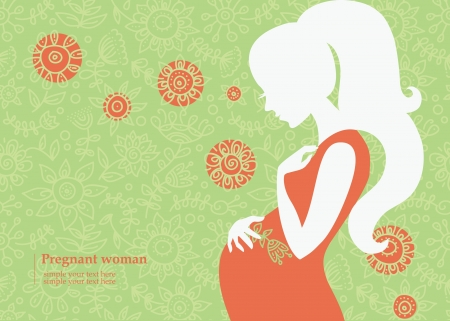 pregnancy: Silhouette of pregnant woman in summer